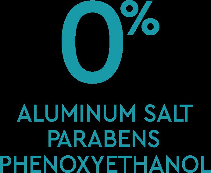 0% Aluminum Salt, 0% Parabens, 0% Phenoxyethanol
